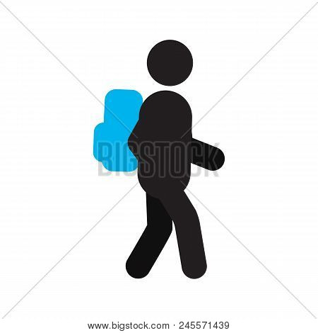 Schoolboy With Backpack Silhouette Icon. Grade Schooler. School Child. Isolated Vector Illustration