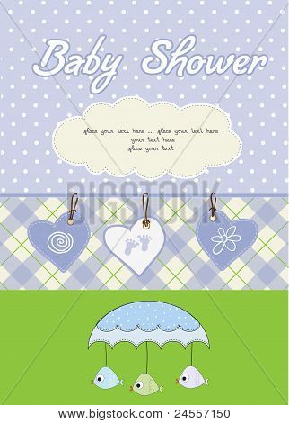 baby boy shower card  with blue umbrella and hearts poster