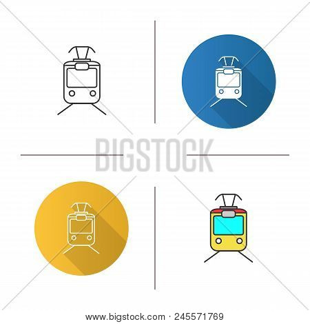 Tram Icon. Tramcar, Streetcar. Trolley Car. Flat Design, Linear And Color Styles. Isolated Vector Il