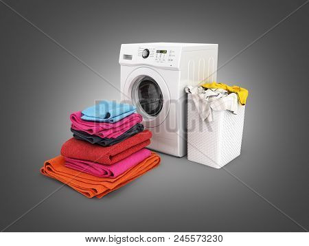 Concept Of Washing Clothes Washing Machine With Colored Towels And Washing Basket With Dirty Clothes