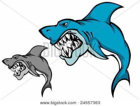 poster of Danger shark with sharp tooth for mascot design in cartoon style
