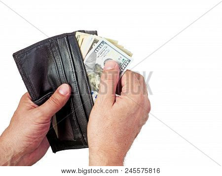 Wallet With Us Dollars In The Hands , A Hand Holding An Money With Leather Brown Wallet, Counting Do