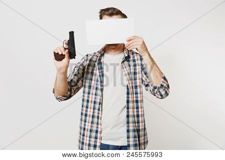 Man Holding Gun, Blank Empty Sheet Card, Copy Space Isolated On White Background. Male Hand No Shoot