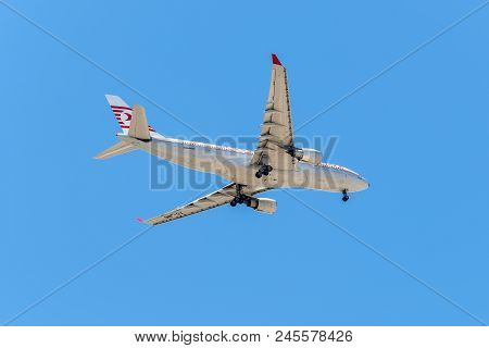 Lisbon, Portugal - May 19, 2017: Airbus A330 Turkish Airlines Aircraft Landing In The Portela Airpor