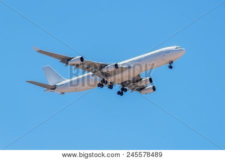 Lisbon, Portugal - May 19, 2017: Airbus A340-300 Hi Fly Malta Airlines Aircraft Landing In The Porte