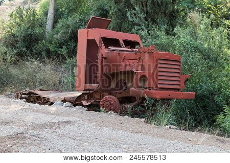 The remains of the defeated fighting vehicles of the Hagana - the IDF - ambushed during the War of Independence near the village of Netiv HaShayara in Israel poster