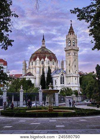 Parish Church Of San Manuel And Benito At Sunset. Madrid.