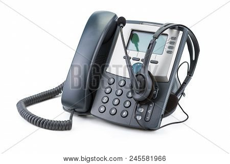 Ip Telephone Device With Headset Isolated On White Background