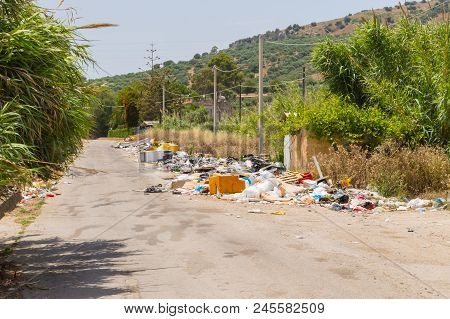 Rubbish  Along A Secondary Road In A Village In Northern Sicily