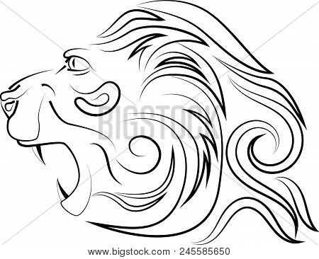 Head Of Lion With An Open Mouth With Canines. Vector Logo. Linear Art. Concept Of Power And Power.