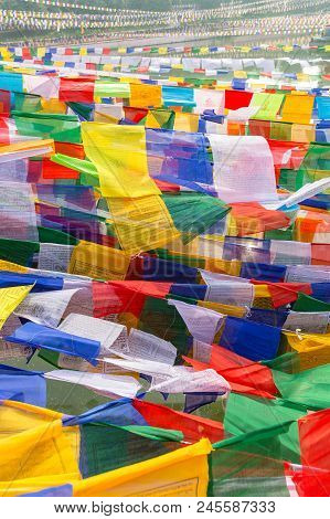 Close-up View Of Prayer Flags In Bodhgaya, Bihar, India