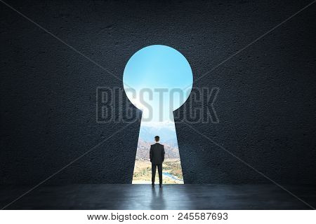 Back View Of Young Businessman Standing Against Keyhole Door. Dream, Success, Opportunity And Future