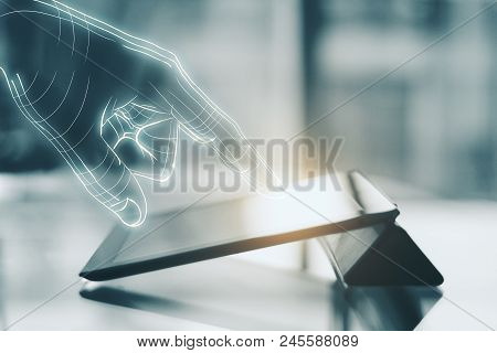 Close Up Of Digital Hand Using Glowing Tablet On Blurry Toned Background. Technology, Ai And Future