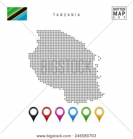Dotted Map Of Xxx. Simple Silhouette Of Xxx. The National Flag Of Xxx. Set Of Multicolored Map Marke
