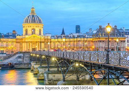 Paris, France - June21, 2015: Night Scene Of French Institute