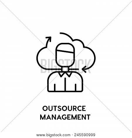Outsource Management Vector Icon On White Background. Outsource Management Modern Icon For Graphic A