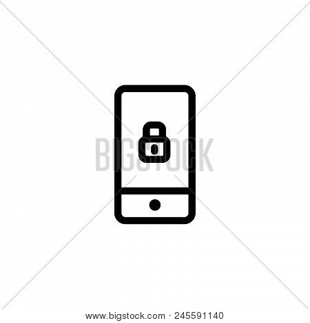 Phone Lock Vector Icon On White Background. Phone Lock Modern Icon For Graphic And Web Design. Phone