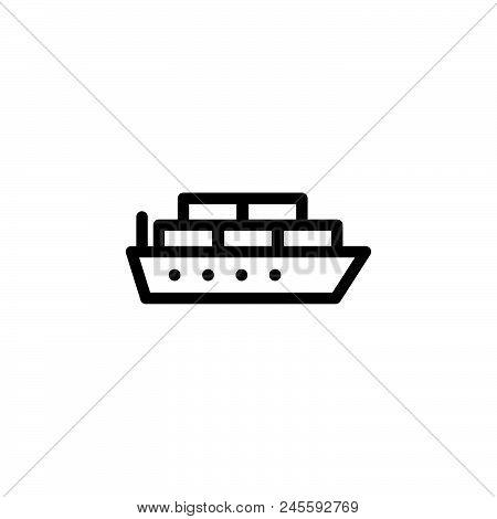 Cargo Ship Vector Icon On White Background. Cargo Ship Modern Icon For Graphic And Web Design. Cargo