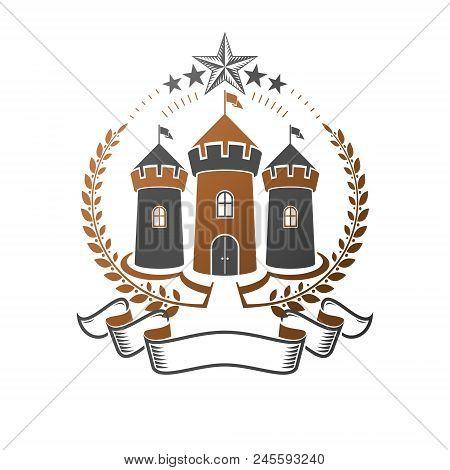 Ancient Bastion Emblem. Heraldic Vector Design Element. Retro Style Label, Heraldry Logo. Ornate Log