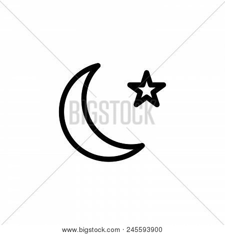 Moon Vector Icon On White Background. Moon Modern Icon For Graphic And Web Design. Moon Icon Sign Fo
