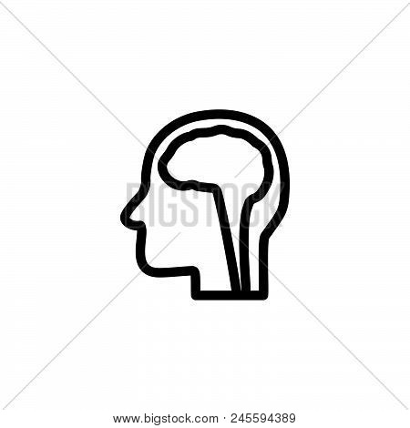 Head Brain Vector Icon On White Background. Head Brain Modern Icon For Graphic And Web Design. Head