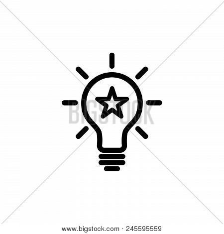 Idea Bulb With Star Vector Icon On White Background. Idea Bulb With Star Modern Icon For Graphic And