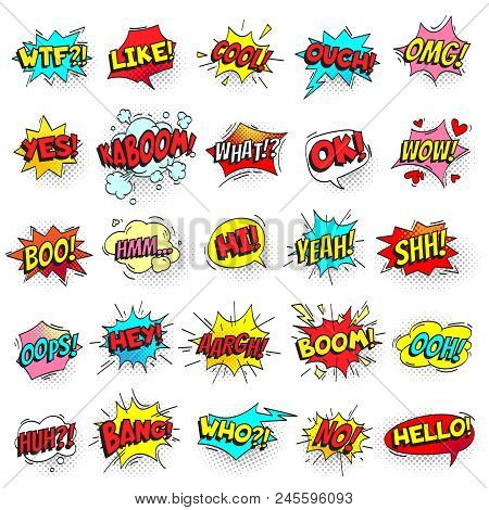 Bang, Ouch Shouts And Yeah Shouting Text Bubble With Halftone Pattern Shadow. Pop Art Comic Sign Ret