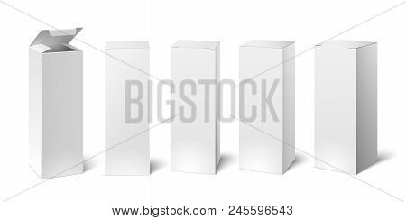 High White Cardboard Box Mockup. Set Of Realistic Vertical Tall Cardboard Rectangular Cosmetic Or Me