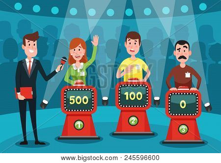 Young People Guessing Quiz Questions. Intellectual Game Show Studio With Playing Buttons On Stands F
