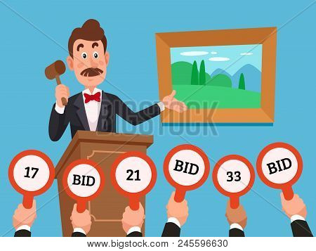 Man On Stand Leading Auction Hold Gavel. People Businessman Character Make Bets On Auctions Bidding