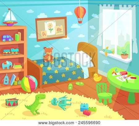 Cartoon Kids Bedroom Interior. Home Childrens Room With Kid Bed, Pencils Drawings And Child Toys Tir