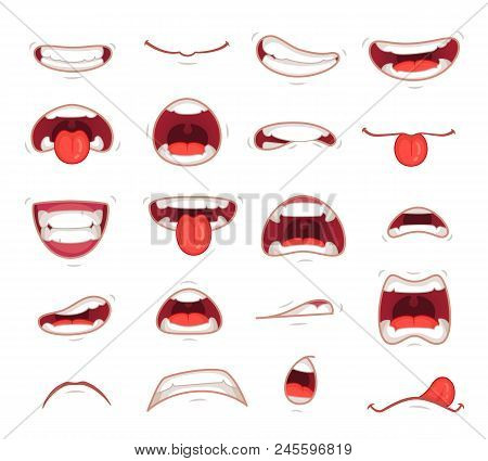 Cartoon Mouths. Facial Expression Surprised Mouth With Teeth Shock Shouting Smiling Humor Grin And C