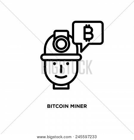Bitcoin Miner Vector Icon On White Background. Bitcoin Miner Modern Icon For Graphic And Web Design.