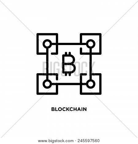 Blockchain Vector Icon On White Background. Blockchain Modern Icon For Graphic And Web Design. Block