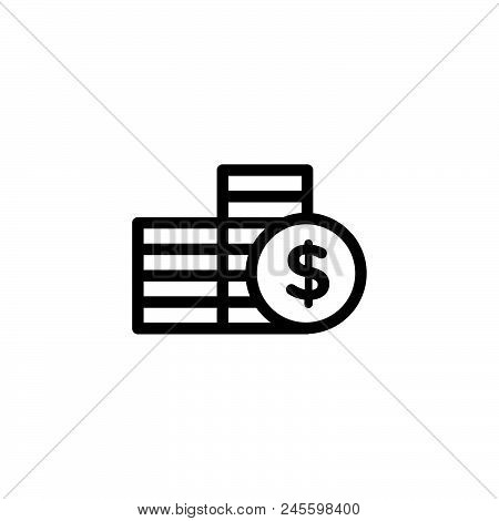 Coins Vector Icon On White Background. Coins Modern Icon For Graphic And Web Design. Coins Icon Sign