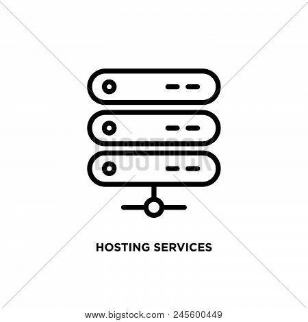 Hosting Services Vector Icon On White Background. Hosting Services Modern Icon For Graphic And Web D