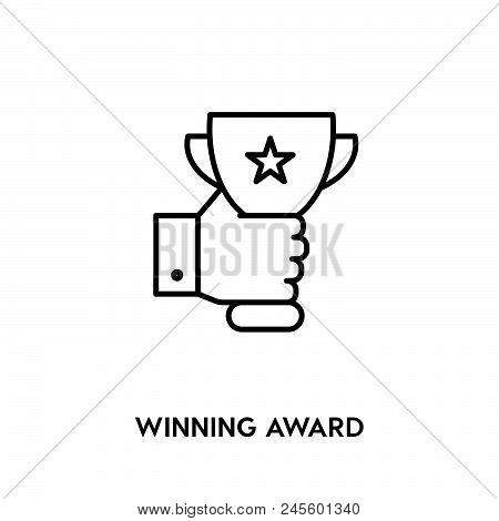 Winning Award Vector Icon On White Background. Winning Award Modern Icon For Graphic And Web Design.