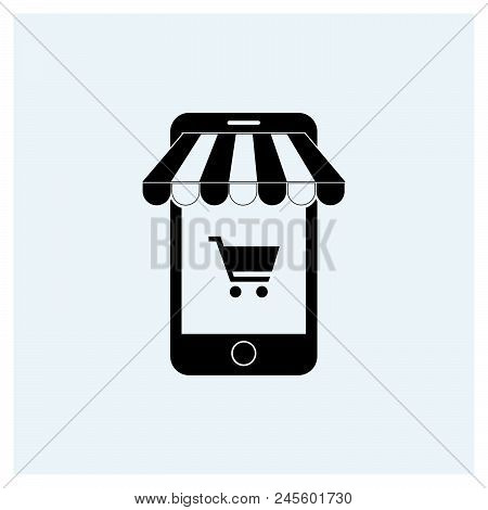 Mobile Shopping Icon Vector Icon On White Background. Mobile Shopping Icon Modern Icon For Graphic A