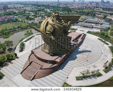 Jingzhou, China - Jun 7 2018: The Biggest Guan Yu Statue. Guan Yu Temple. Travel In Jingzhou City. T