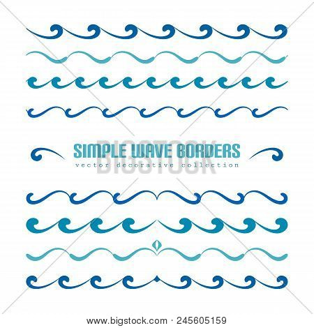 Set Of Wavy Borders, Divider Lines With Curly Pattern, Simple Nautical Ornaments And Flourish Vignet