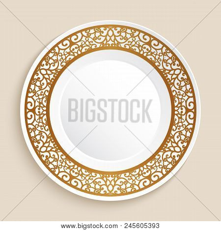 Empty Dinner Plate With Gold Ornamental Border, Porcelain Dish With Golden Swirly Pattern