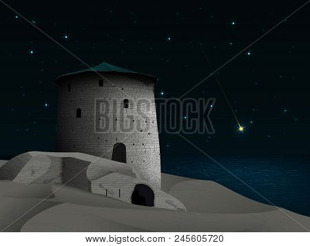 Fantasy Historical Night Landscape With Ancient Tower And Old Dilapidated Castle Walls On A Sandy De