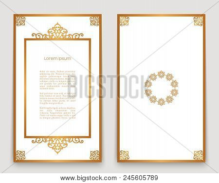 Vintage Gold Frames With Swirly Border Pattern, Ornamental Book Cover, Ornate Golden Decoration For