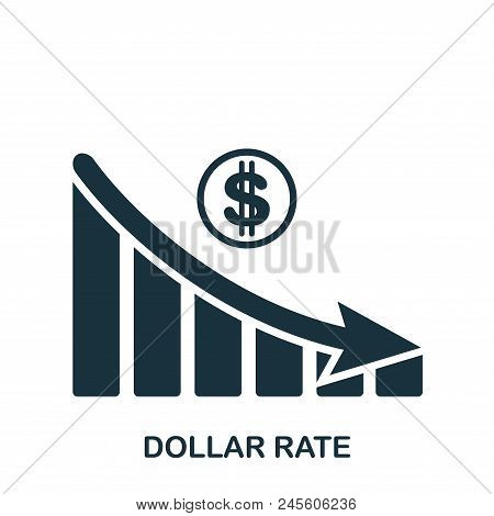 Dollar Rate Decrease Graphic Icon. Mobile App, Printing, Web Site Icon. Simple Element Sing. Monochr