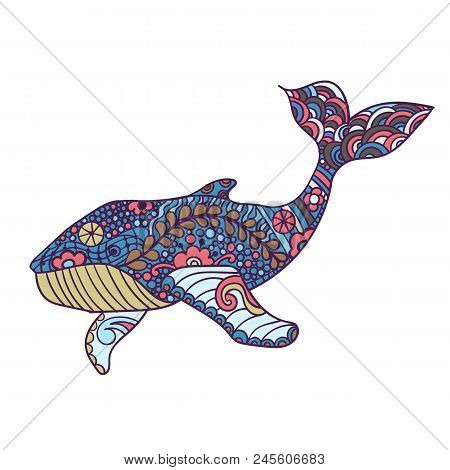 Whale, Zentangle Print, Adult Coloring Page. Hand Drawn Artistically, Ornamental Patterned Whale Ill
