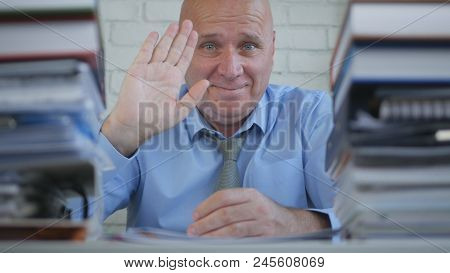 Businessman Image From Accounting Office Salute And Make Welcome Gesture