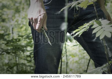 Man Holding A Knife In His Hand In Nature, Close-up, Killer, Nature