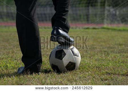 Businessman Playing With Soccer Ball, Asian Businessman With Football In The Stadium Foolball, Socce