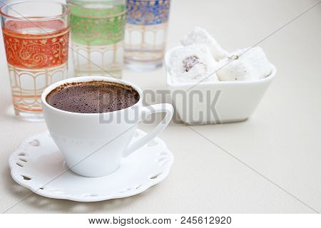 Turkish Coffee With Milk Cream Chocolate Pistachio Turkish Delight And Cup Of Water