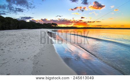 Sunset Over The Beach Next To The Green Patch Campground In Jervis Bay National Park, New South Wale